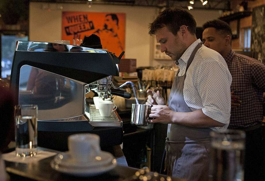 David Buehrer of Blacksmith coffee shop, practices for the Central Regional Barista Compeition in Minneapolis Oct. 25-27.   ( James Nielsen / Houston Chronicle ) Photo: James Nielsen, Houston Chronicle
