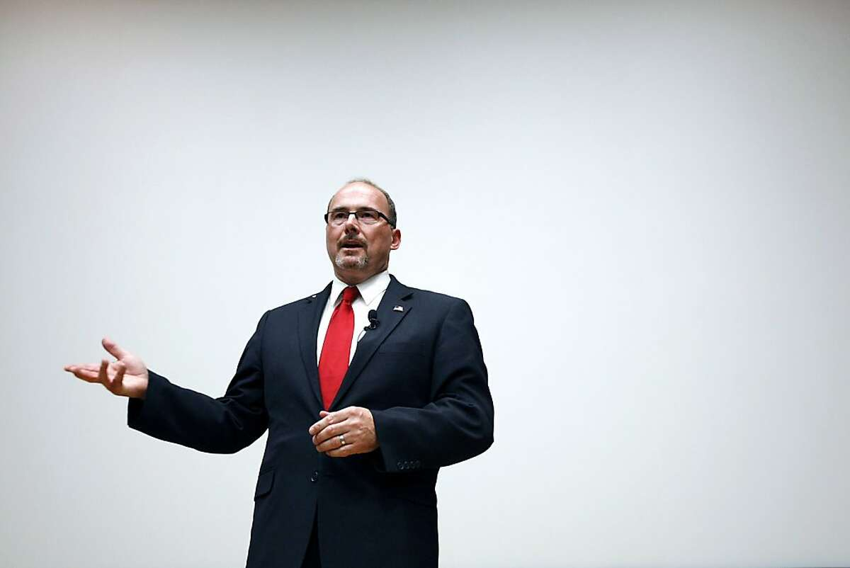 California GOP Assemblyman Tim Donnelly speaks during professor Alan Ross's Political Science class held in Wheeler Hall on the University of California campus in Berkeley, CA Wednesday, October 9, 2013.