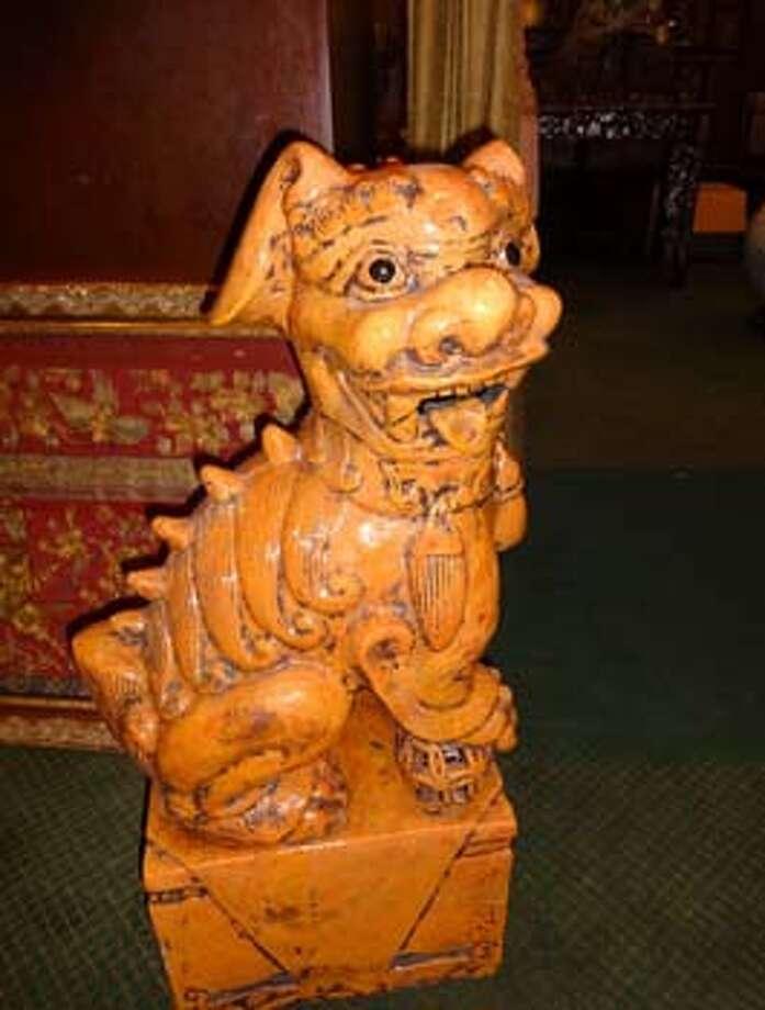 Glazed ceramic foo dogs