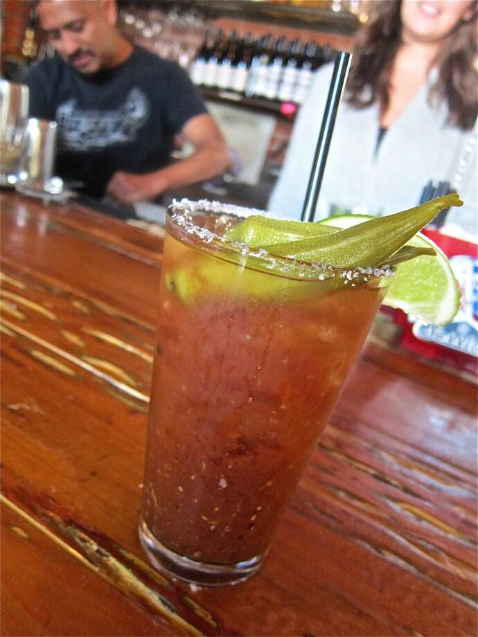 Bloody Mary with pickled okra at Liberty Station, a regular stop for the Taco Nuts truck by LJ Wiley. Photo: Alison Cook