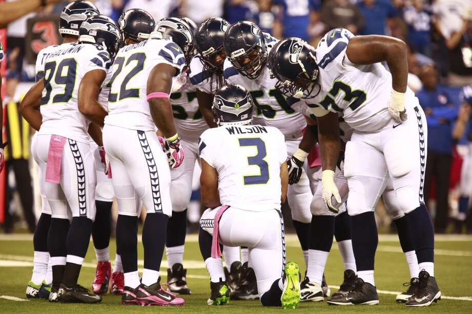 """Q: How much of a problem is Seattle's shaky pass protection (continued)?PC:""""But, the biggest issue has really been a little bit of the inconsistency on identification and getting everybody on the same page, and that's just the continuity. That's so crucial up there that you lose when you lose three guys plus the tight end.   """"So we had to suffer through a little bit and that's why Russell (Wilson) has had to run more. He has had to take off, in order to kind of even out that factor. So hopefully we should see us improve. We're counting on that.   """"And then, as well as Michael Bowie playing more and Paul McQuistan being at the left tackle spot, it helps those guys with the experience. Imagine, these are all first experiences for Michael Bowie. So he is improving. His confidence will continue to grow, I think, and if we put him in the right spots all the time, that would really help also."""" Photo: Brent R. Smith, Associated Press"""