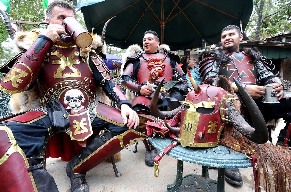 See what these RenFesters are feasting on ... Alexander Bond, Nathan Wilcox, and Carlos Trochez visit the Texas Renaissance Festival, Saturday, October 8, 2011. Tammy McKinley/The Enterprise
