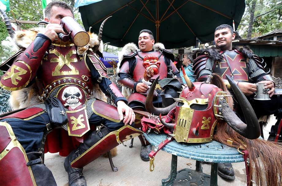 See what these RenFesters are feasting on ...Alexander Bond, Nathan Wilcox, and Carlos Trochez visit the Texas Renaissance Festival, Saturday, October 8, 2011. Tammy McKinley/The Enterprise Photo: Beaumont Enterprise