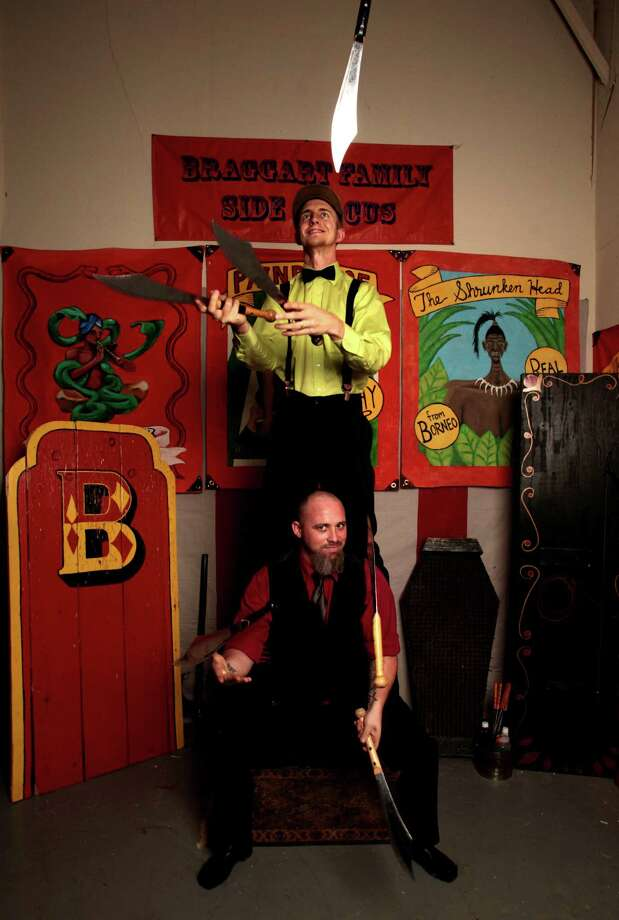 (top-bottom) Hans and Jay Braggart of the Braggart Family SideCircus, Wednesday October 2, 2013. Hans and his brother Jay started the family circus in January of 2010. The Braggart's have performed in locations ranging from their hometown of Houston, TX all the way to New York City. (Billy Smith II /Chronicle) Photo: Billy Smith II, Staff / © 2013 Houston Chronicle