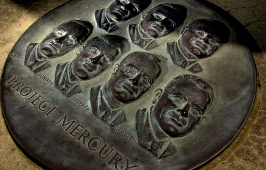 "A marker commemorates astronauts of Project Mercury, who were the first Americans to venture into space. The Mercury astronauts are, Walter M. Schirra, Jr.; Donald K. Slayton; John H Glenn, Jr.; Alan B. Shepard, Jr.; Virgil I. ""Gus"" Grissom; Gordon Cooper; and Scott Carpenter. Shot on Thursday, July , 10, 2003 in Florida.  CHRISTOBAL PEREZ/HOUSTON CHRONICLE Photo: CHRISTOBAL PEREZ, HOUSTON CHRONICLE / HOUSTON CHRONICLE"