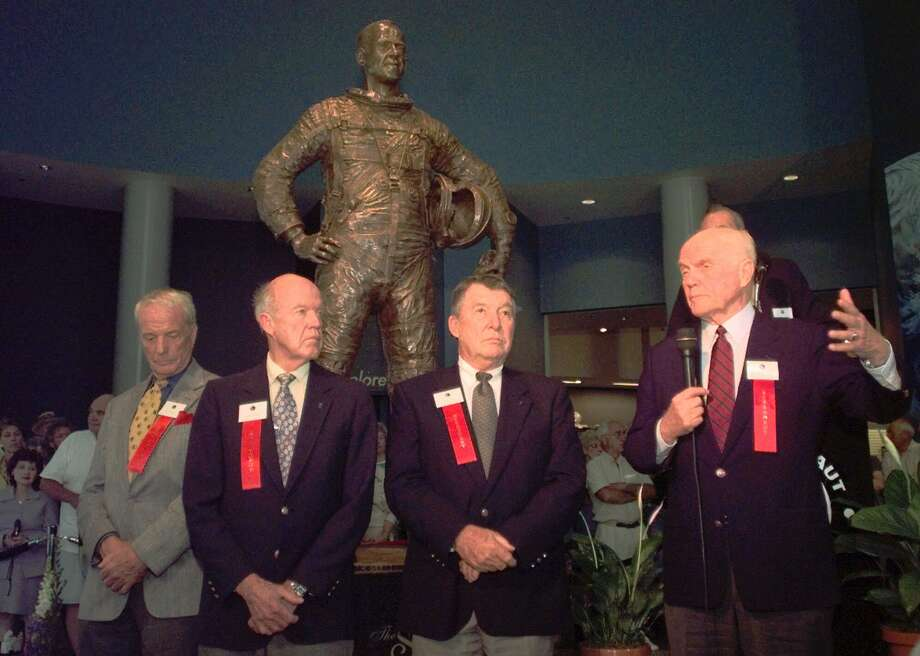 Mercury astronauts, from left, Scott Carpenter, Gordon Cooper Jr., Walter Schirra Jr., and  John Glenn Jr., were on hand, Monday, March 20, 2000, for the unveiling of the the statue of Alan B. Shepard Jr. at the U.S. Astronaut Hall of Fame in Titusville, Fla. Photo: MICHAEL R. BROWN, AP / FLORIDA TODAY