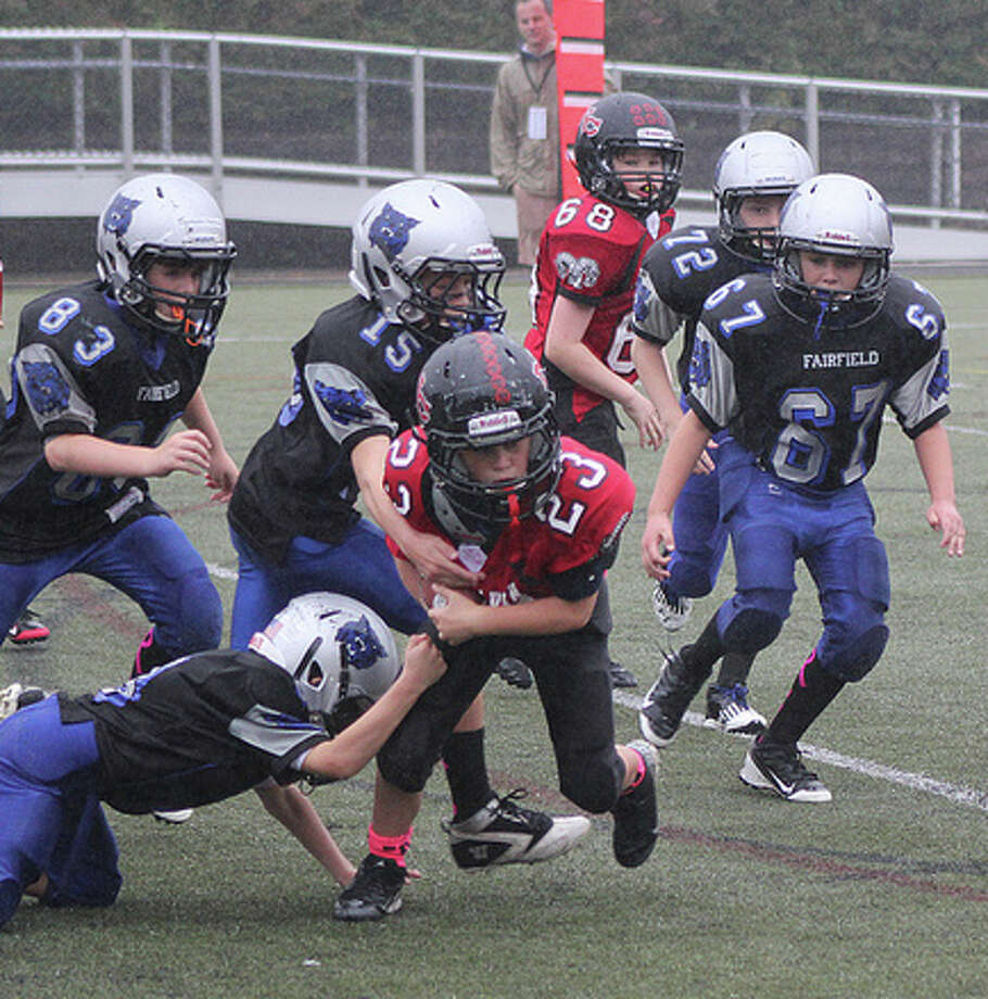 Action from the Wildcats fourth-grade Black team last weekend against New Canaan. Photo: Contributed Photo / Fairfield Citizen