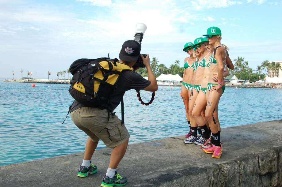 After the Underpants Run, triathlon magazines and other news outlets seek out photogenic subjects, including sponsored teams. Photo: Jeanne Cooper, SFGate