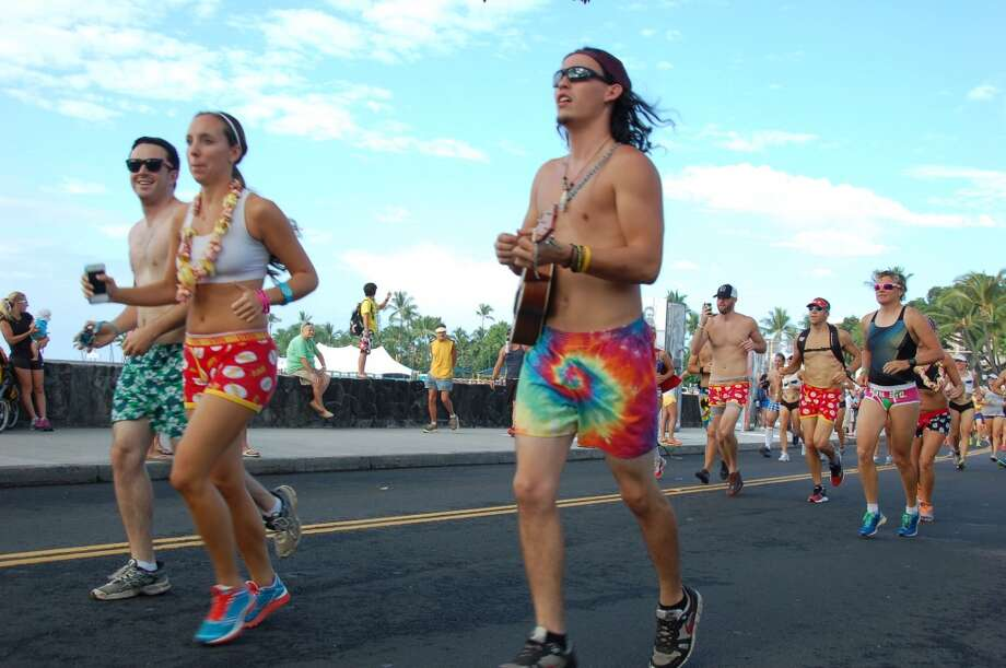 Aloha spirit: Running with a uke in board shorts is more Hawaiian style than walking around in Speedos, which led to the parodying Underpants Run. Photo: Jeanne Cooper, SFGate