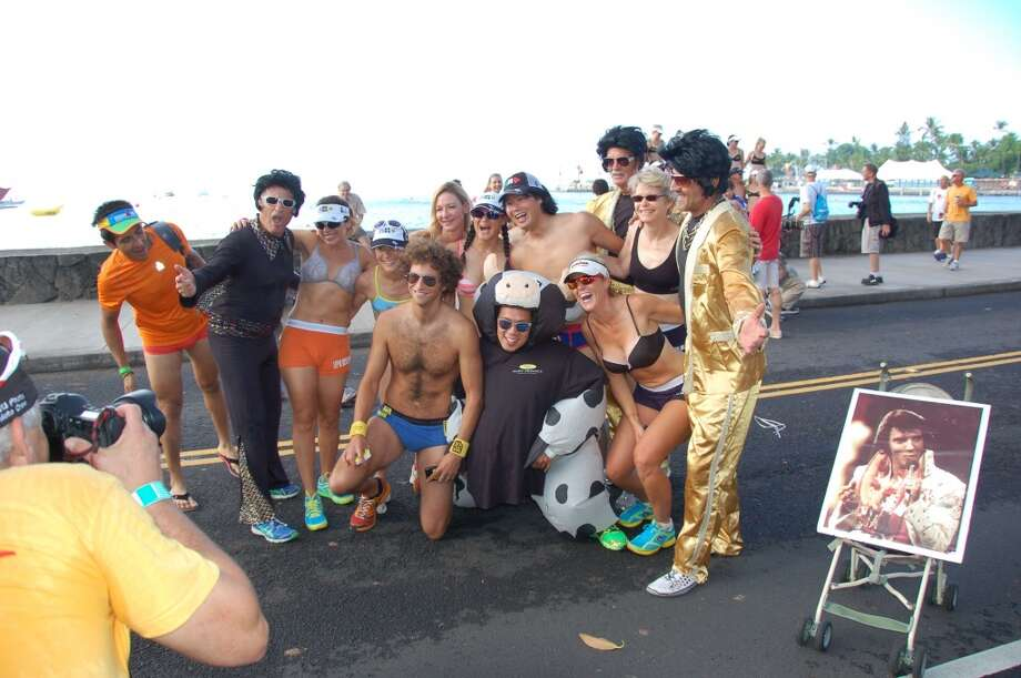"The Elvis contingent is always happy to stop and pose for photos during the ""race."" Photo: Jeanne Cooper, SFGate"