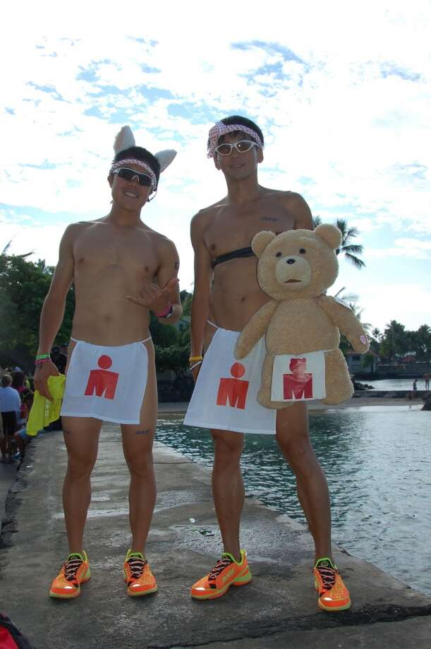 Japanese triathletes and the occasional teddy bear are happy to fly their freak flag, too. Photo: Jeanne Cooper, SFGate