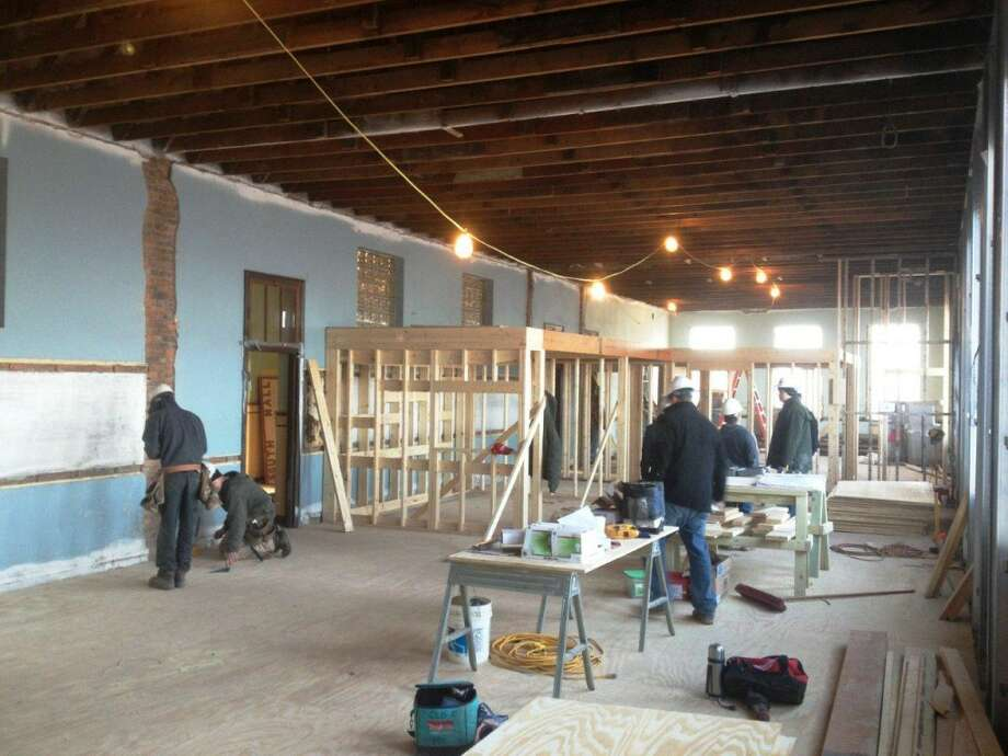 Walls going up in an apartment at the Academy Lofts (Courtesy Albany Barn)