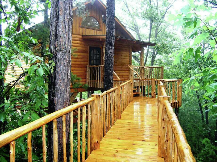 Terry Miller crafted seven unique guest treehouses for guests 22 feet to 26 feet above the pine forest floor. Photo: Courtesy Photo