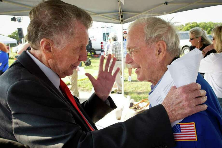 Veteran NBC reporter Jay Barbree, left, speaks with NASA Mercury Astronaut Scott Carpenter, prior to a celebration marking the 50th Anniversary of Alan Shepard's first flight into space, Thursday, May 5, 2011, at Cape Canaveral Air Force Station in Cape Canaveral, Fla. The main scientific objective of project Mercury was to determine man's capabilities in a space environment. The flight lasted 15 minutes 28 seconds and covered 303 statute miles. Photo Credit: (NASA/Bill Ingalls) Photo: NASA/Bill Ingalls, Program Mgr./Sr. Photographer / (NASA/Bill Ingalls)