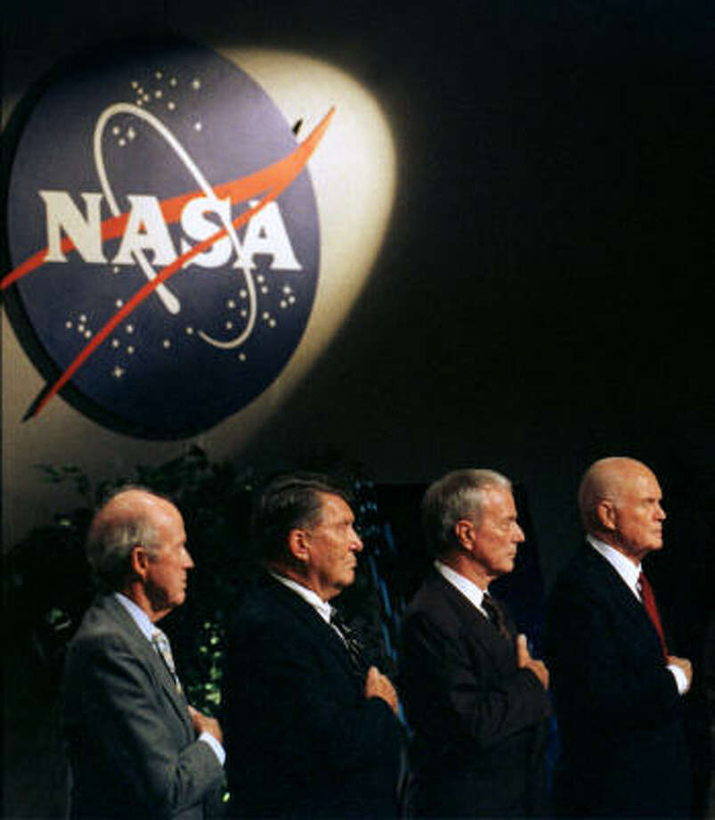 Remaining Mercury Seven astronauts appear at JSC for memorial services for Alan Shepard Aug. 1, 1998.  Gordon Cooper, from left, Walter Schirra, Scott Carpenter and Sen. John Glenn. Photo: Chronicle File