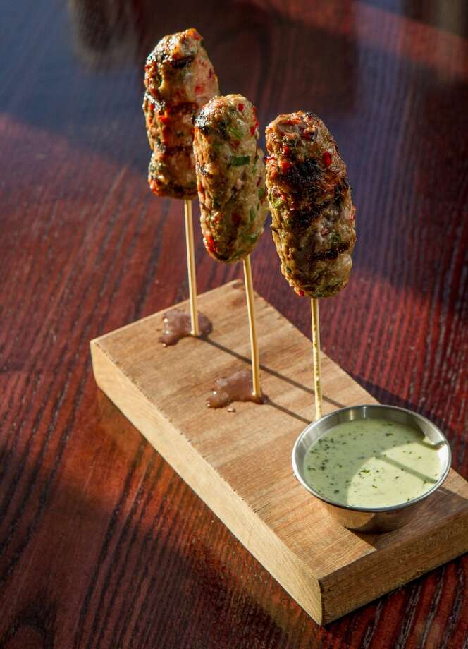 The Ground Lamb Kabobs ($8.50) at Three in San Mateo. Photo: John Storey, Special To The Chronicle