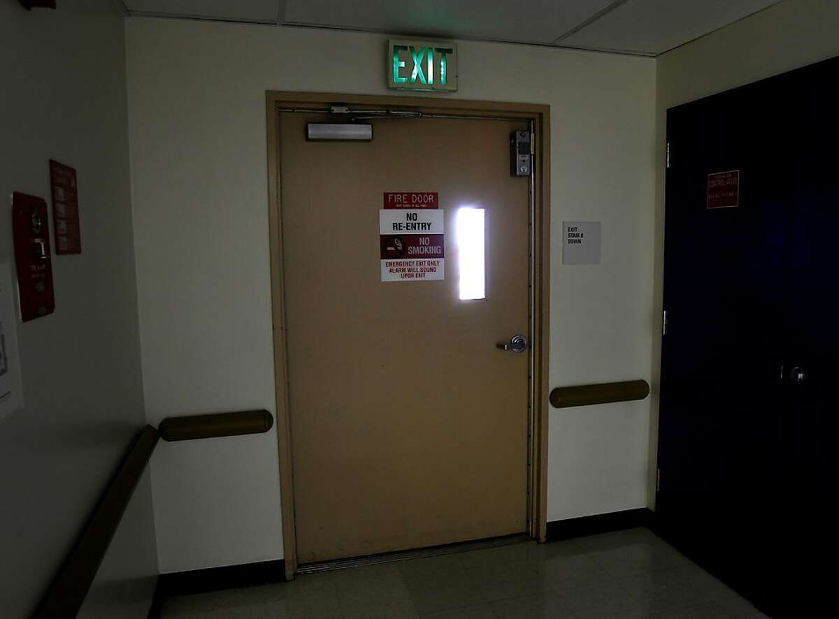 On the fifth floor, this emergency exit leads to a stairwell into an interior courtyard Thursday October 10, 2013 in San Francisco, Calif. , perhaps the one which Lynne Spalding entered. Mayor Ed Lee visited San Francisco General Hospital the day after it was announced the body of Lynne Spalding had been found in an emergency exit.