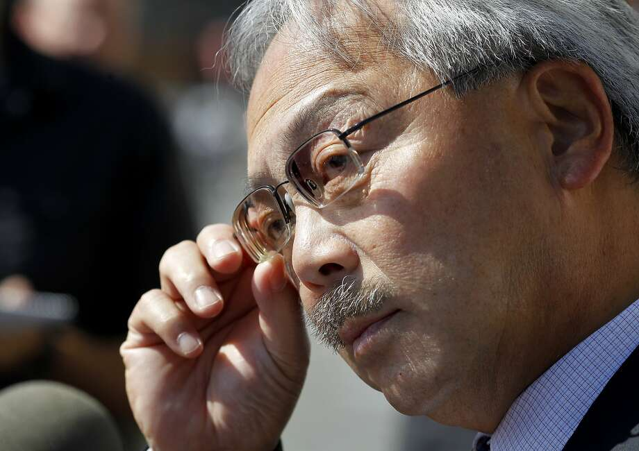 Mayor Ed Lee listened to a reporters question about Lynne Spalding Thursday October 10, 2013 in San Francisco, Calif. Mayor Ed Lee visited San Francisco General Hospital the day after it was announced the body of Lynne Spalding had been found in an emergency exit. Photo: Brant Ward, The Chronicle