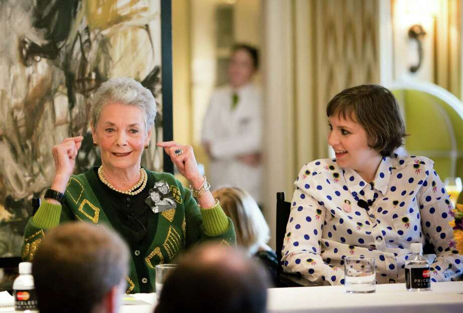 Betty Halbreich (left), renowned personal shopper at Bergdorf Goodman, and actress Lena Dunham trade quips during a panel at the New York store. Photo: The New Yorker Festival / Associated Press