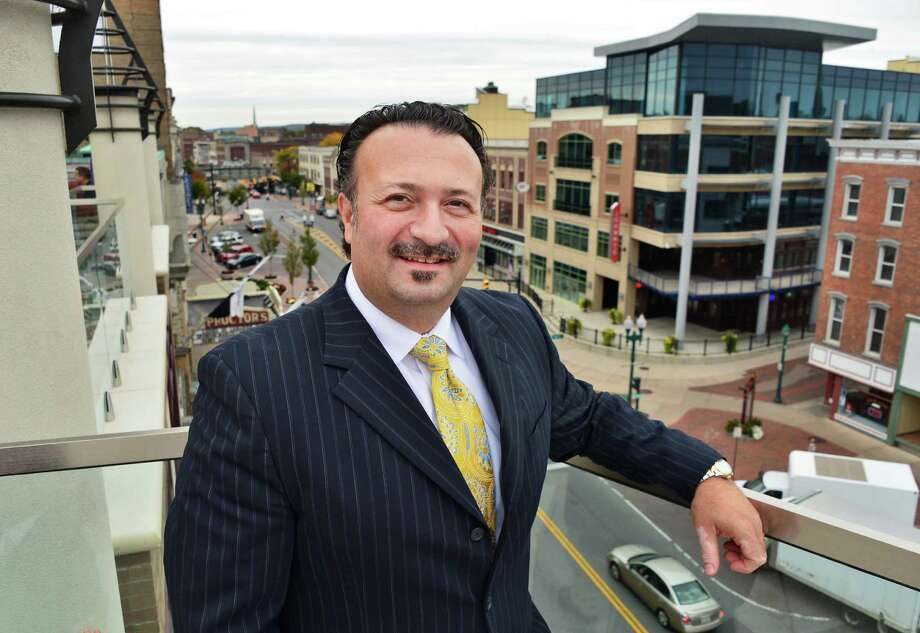 Transfinder president and CEO, Antonio Civitella on the fourth floor terrace during the grand opening of their new headquarters Thursday, Oct. 10, 2013, in downtown Schenectady, N.Y.  (John Carl D'Annibale / Times Union) Photo: John Carl D'Annibale / 00023984A
