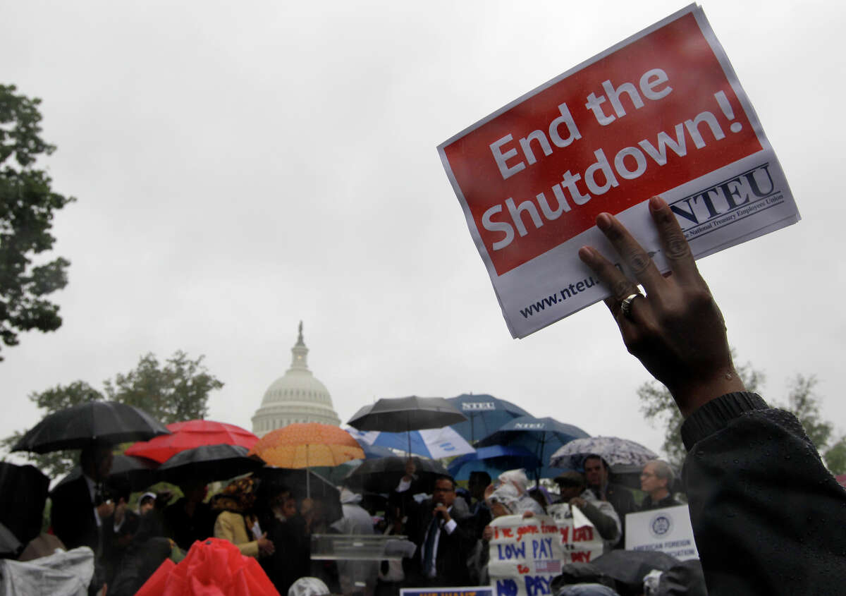 Protesters in Washington call for an end to the government shutdown.