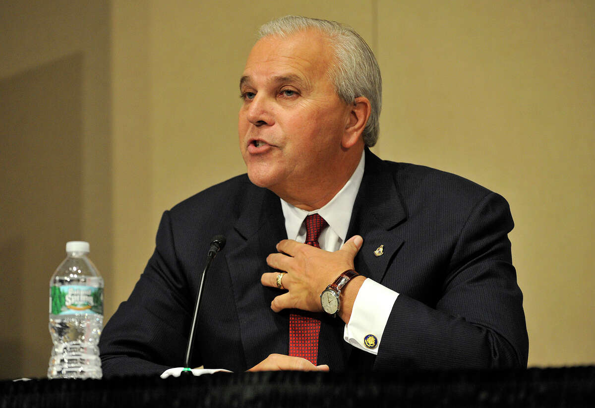 Republilcan mayoral candidate Michael Fedele speaks during the AARP / UConn Stamford Mayoral Candidate Forum at UConn-Stamford on Thursday, Oct. 10, 2013. The theme for the forum was Livable Communities, Good for All Ages.