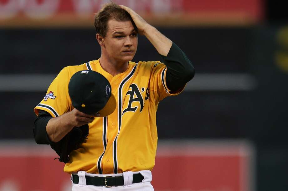 OAKLAND, CA - OCTOBER 10:  Sonny Gray #54 of the Oakland Athletics reacts after loading the bases in the fourth inning against the Detroit Tigers during Game Five of the American League Division Series at O.co Coliseum on October 10, 2013 in Oakland, California.  (Photo by Thearon W. Henderson/Getty Images) Photo: Getty Images