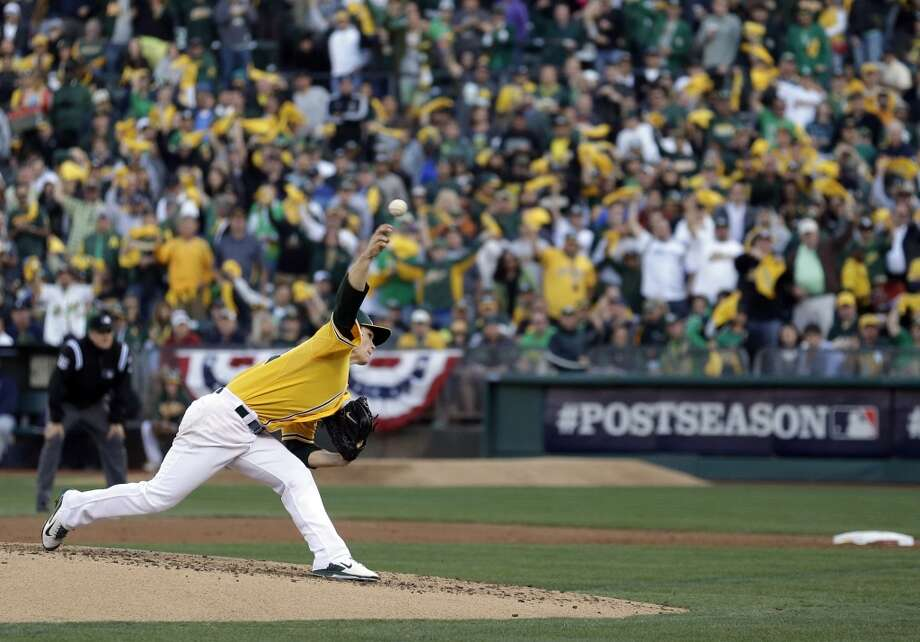 Oakland Athletics starting pitcher Sonny Gray delivers a pitch in the third inning of Game 5 of an American League baseball division series against the Detroit Tigers in Oakland, Calif., Thursday, Oct. 10, 2013. (AP Photo/Marcio Jose Sanchez) Photo: Associated Press