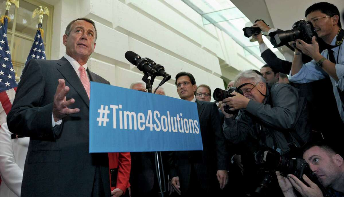 After a closed-door meeting with House Republicans Thursday, Speaker John Boehner put forth a proposal to extend the nation's borrowing for six weeks. The proposal was later rejected by President Barack Obama.