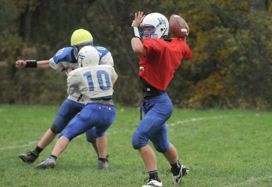 Quarterback Garrett Wright during Hoosick Falls High School football practice on Thursday Oct. 10, 2013 in Hoosick Falls, N.Y. (Michael P. Farrell/Times Union) Photo: Michael P. Farrell / 00024203A