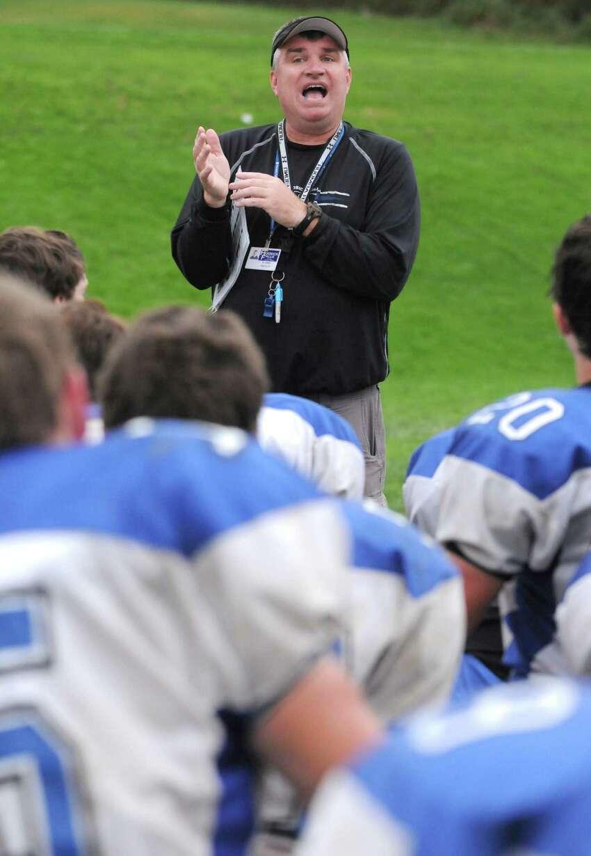 Coach Ron Jones during Hoosick Falls High School football practice on Thursday Oct. 10, 2013 in Hoosick Falls, N.Y. (Michael P. Farrell/Times Union)