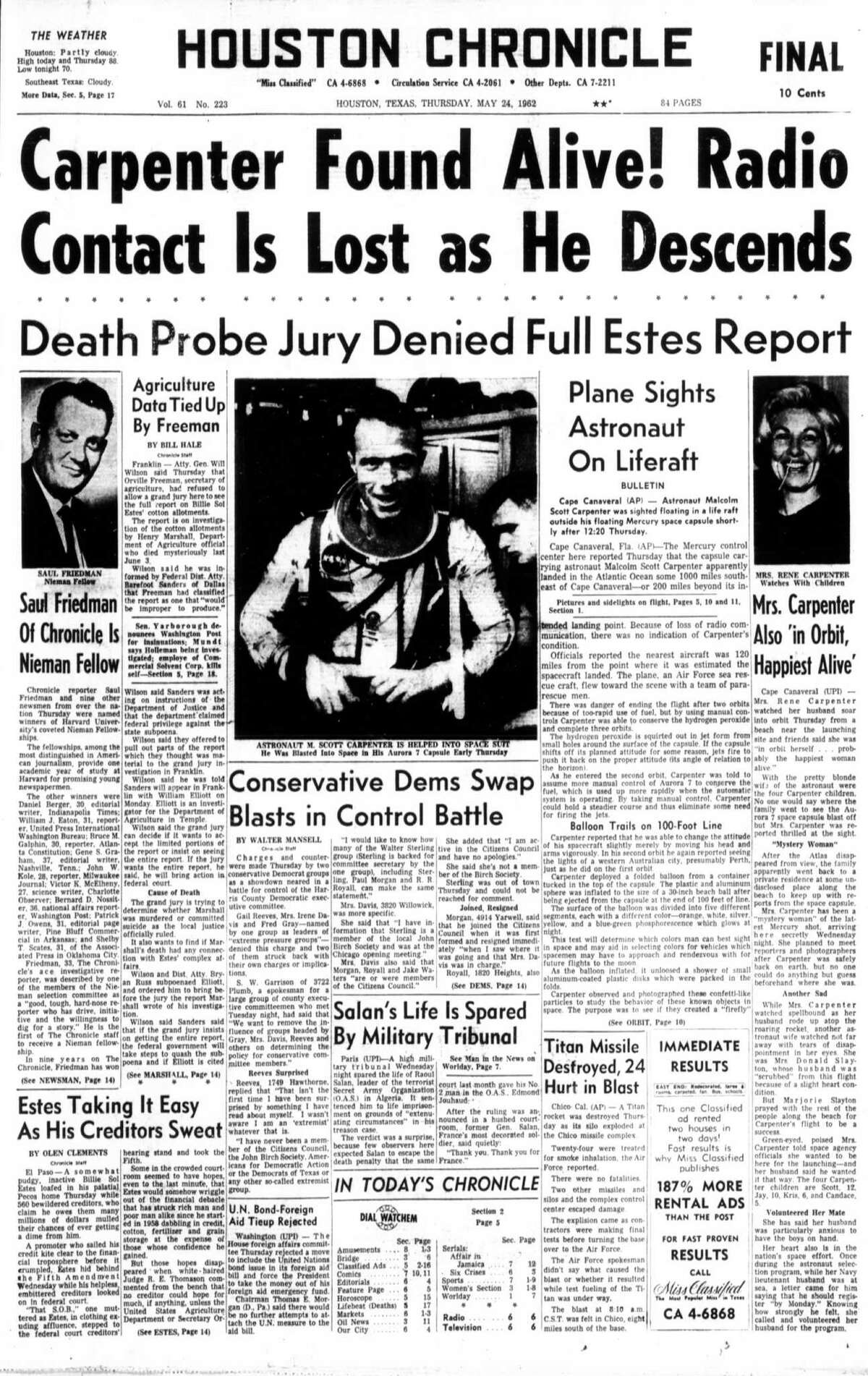 """Above, the seven Mercury astronauts, pictured in 1959, are, from bottom left, Walter Schirra, """"Deke"""" Slayton, John Glenn and Scott Carpenter. Back row from left are Alan Shepard, Virgil Grissom and Gordon Cooper. At left, the Houston Chronicle front page from May 24, 1962."""