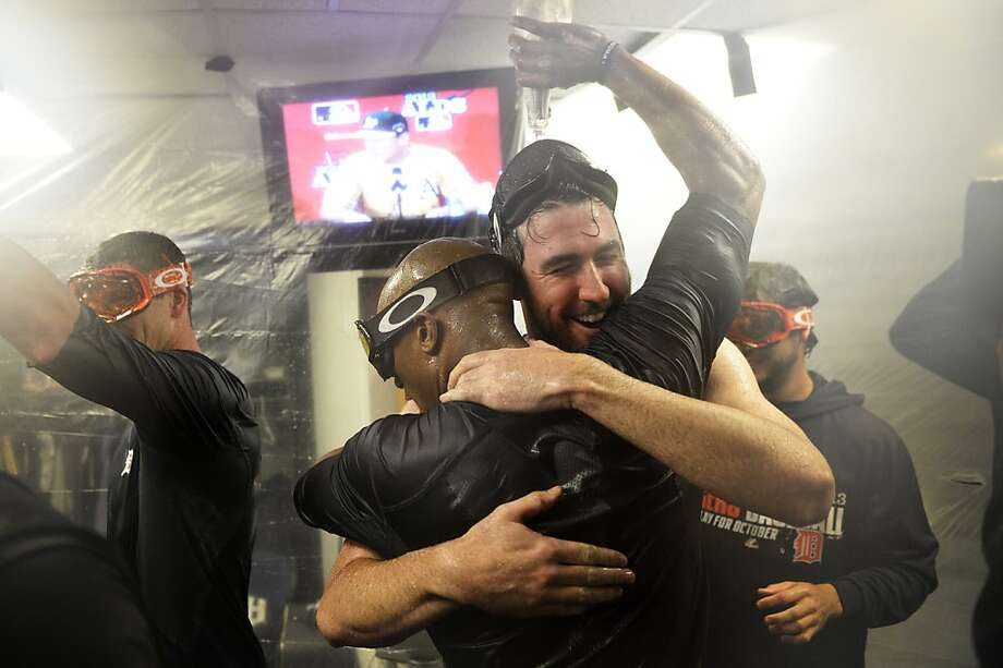 Justin Verlander hugs Austin Jackson during a celebration in the locker room after the Detroit ace  continued his postseason dominance of Oakland in a 3-0 series-clinching win. Photo: Thearon W. Henderson, Getty Images