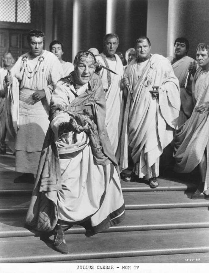 JULIUS CAESAR, the Joseph L Mankiewicz's film from 1953. It has John Gielgud as Cassius, and Louis Calhern as Caesar, Marlon Brando as Antony and James Mason as Brutus.  But somehow it's only OK. Photo: MGM Studios, Getty Images / 2012 Getty Images