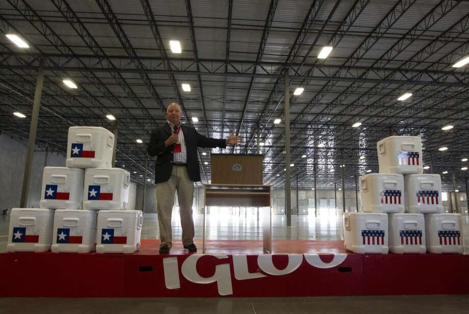 Igloo Products CEO Gary Kiedaisch speaks at the grand opening of the new 420,000 square foot distribution facility on Thursday, Oct. 10, 2013, in Katy. ( J. Patric Schneider / For the Chronicle ) Photo: J. Patric Schneider, For The Chronicle