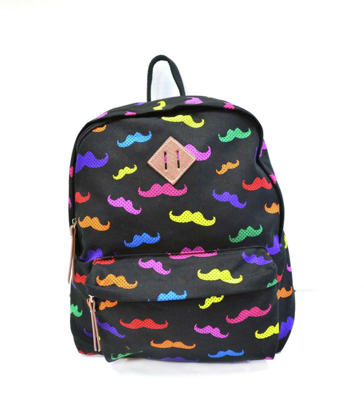 """This publicity photo provided by Kohl's Department Stores, Inc. shows a backpack with a moustache motif. Backpacks are a fashionable and functional way for students to express their personality and show off their style,"""" said Sofia Wacksman, Kohl's VP for Trend. Girls would love the cute colored leopard, boho floral, and fun graphic hearts, and plaids, moustaches, leaf prints and skulls round out the range available this season (www.kohls.com). (AP Photo/Kohl's Department Stores, Inc.)"""