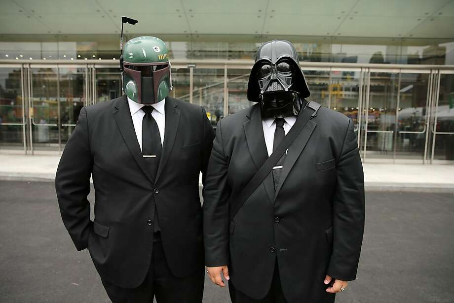 I hear they have a great buffet:Now successful Wall Street executives, Boba Fett and Darth Vader these days mainly fight the battle of the bulge. (New York Comic Con.) Photo: Neilson Barnard, Getty Images