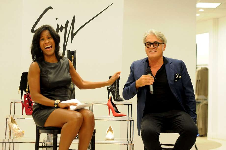 The Chronicle's Joy Sewing and shoe designer Giuseppe Zanotti Photo: Dave Rossman, For The Houston Chronicle