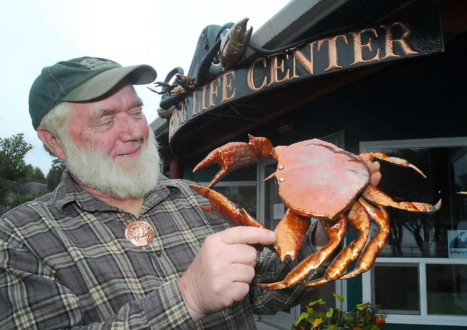 Psst, Clark Mundy has crabs: The crustaceans, beautifully crafted by the coppersmith, are available for sale at this weekend's Dungeness Crab & Seafood Festival in Port Angeles, Wash. Photo: Keith Thorpe, Associated Press