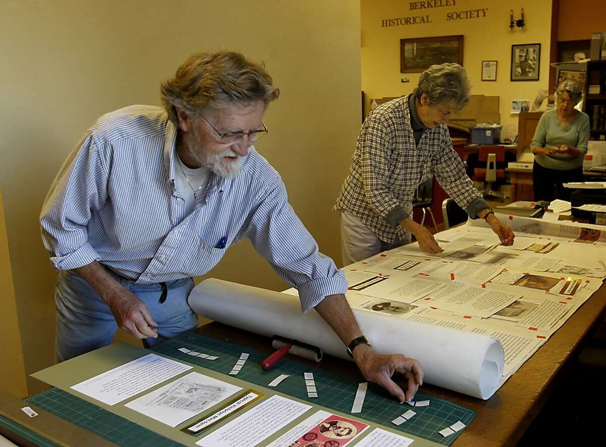 Hal Reynolds (left), Pat Edwards and Lynne Davis work on a paper model of the upcoming exhibit Thursday October 10, 2013 in Berkeley, Calif. Members of the Berkeley Historical Society are setting up a history of Berkeley and the McGee neighborhood where communes used to flourish.