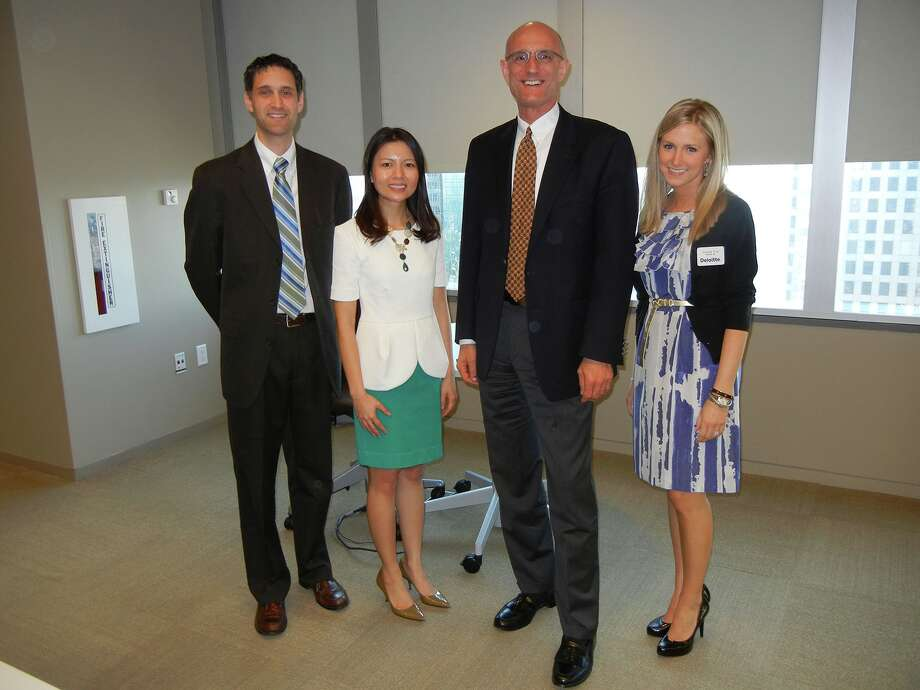 Roundtable participants included, from left, Lance M. Celaya and Diem Ngo of Berry Appleman & Leiden LLP (BAL); Larry Scott, president/founder of Houston International HR Roundtable, LLC, and legal recruiter with Lucas Group); and Amanda King of Deloitte.