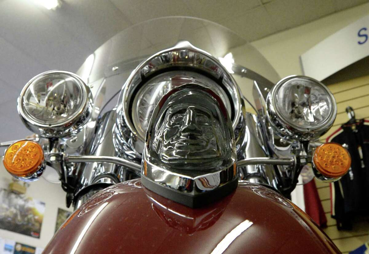 The iconic running light on the front of an Indian motorcycle during the kick-off one of the first in the nation dealerships at Indian Motorcycle of Albany Friday afternoon Oct. 11, 2013 in Clifton Park, N.Y. (Skip Dickstein / Times Union)