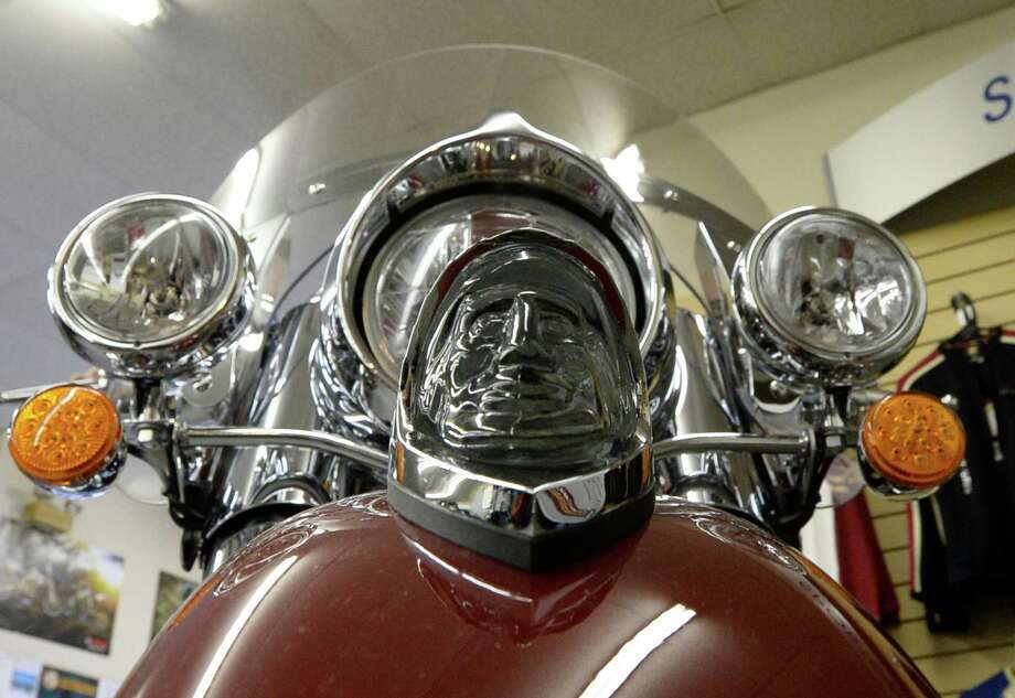 The iconic running light on the front of an Indian  motorcycle during the kick-off one of the first in the nation dealerships at Indian Motorcycle of Albany Friday afternoon Oct. 11, 2013 in Clifton Park, N.Y.       (Skip Dickstein / Times Union) Photo: Skip Dickstein / 00024200A