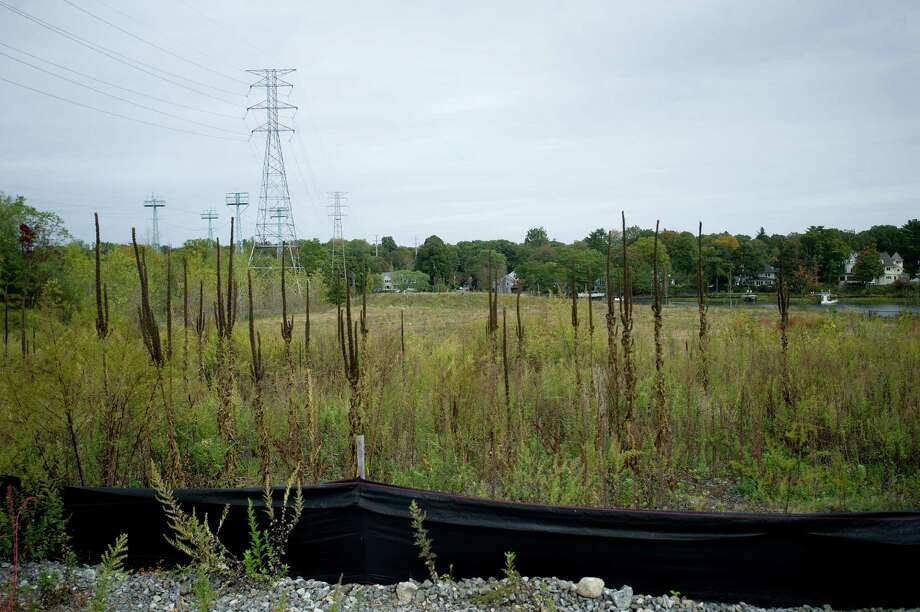 The location where Greenwich plans to break ground on a renovation to the park at the site of the Cos Cob power plant, as seen Friday, October 11, 2013. Photo: Lindsay Perry / Stamford Advocate
