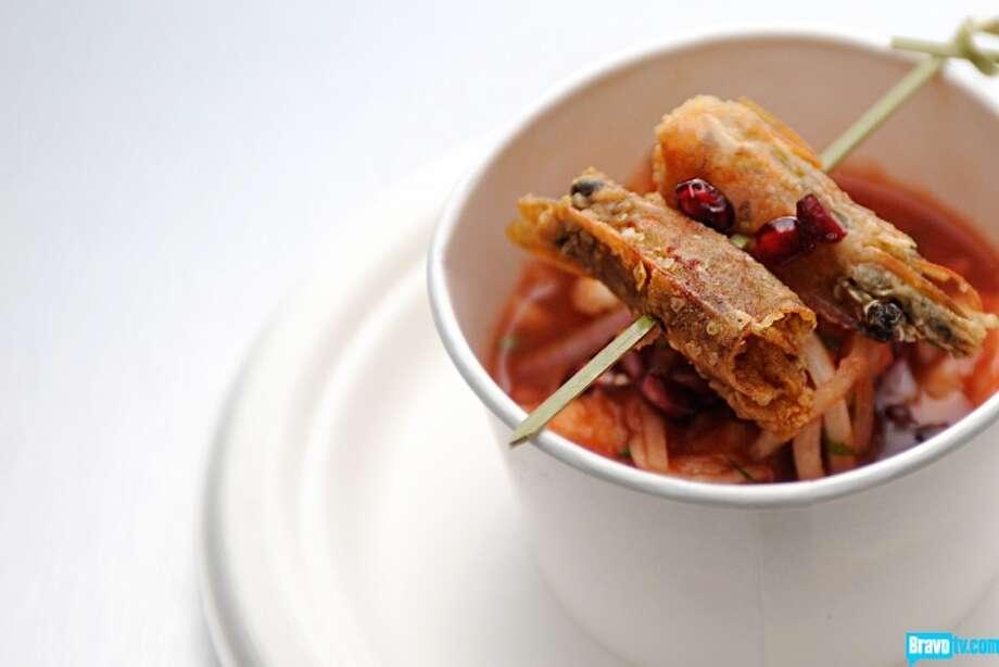 YELLOW TEAM: Dorado and Shrimp Ceviche with Tomato Chefs: Brian Huskey, Travis Masar Photo: Bravo