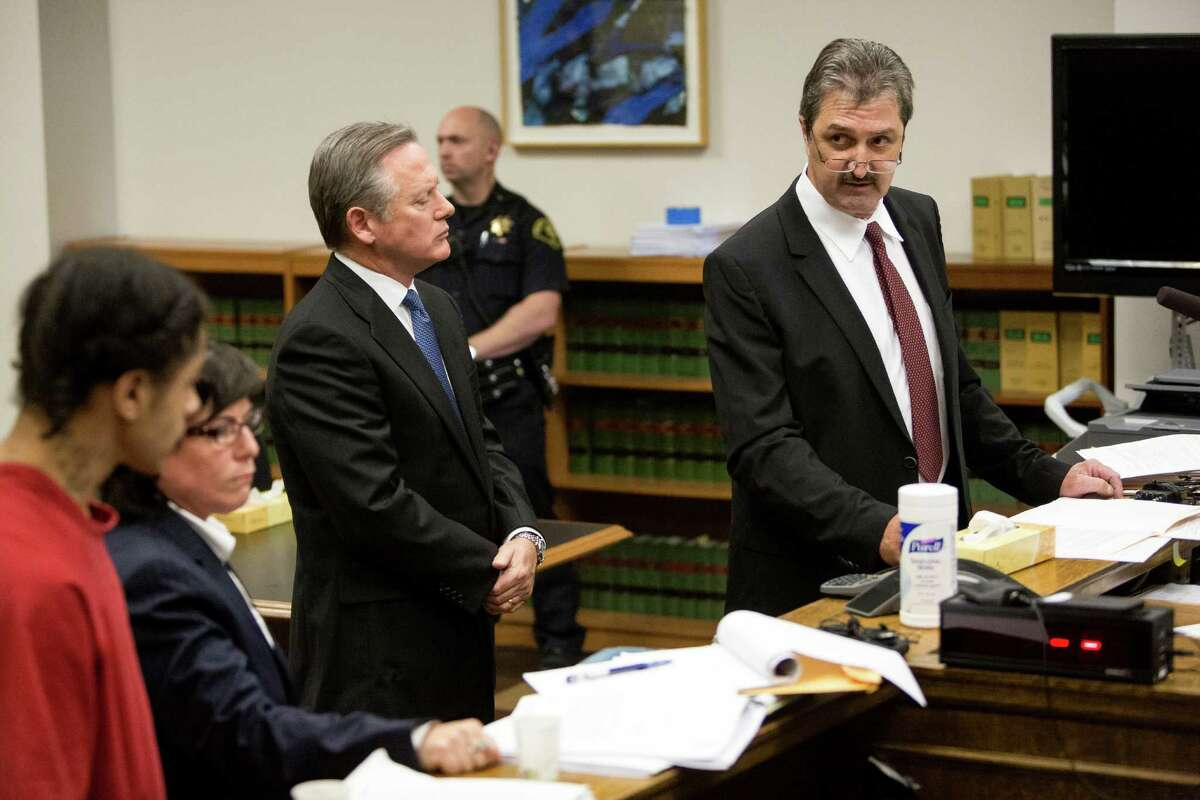 Andrew Patterson, far left, was sentenced to 23 years Friday for killing Justin Ferrari in front of his children.