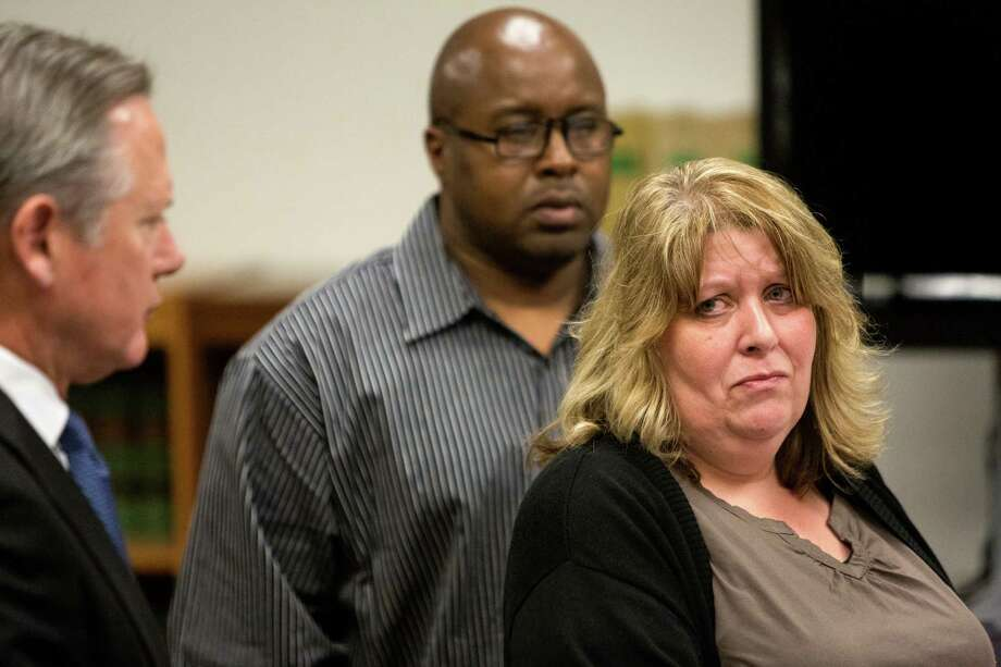 Andrew Patterson's mother, right, tears up while speaking to her son during his sentencing Friday for thel 2012 murder of Justin Ferrari. Photo: JORDAN STEAD, SEATTLEPI.COM / SEATTLEPI.COM