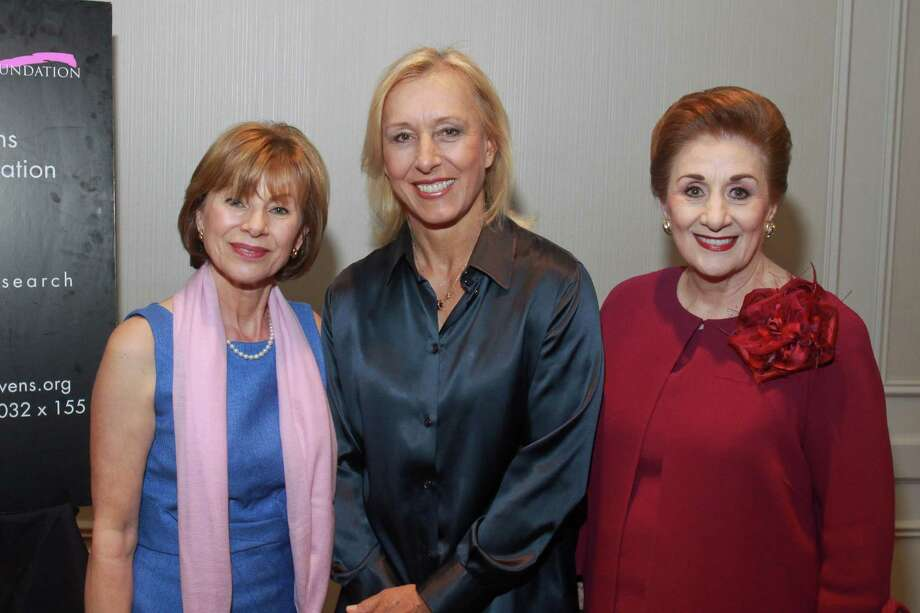 (For the Chronicle/Gary Fountain, October 7, 2013) Raghda Henthorne, from left, Martina Navratilova and Martha Turner at the Nancy Owens Memorial Foundation Luncheon. Raghda Henthorne received the Spirit of Courage Award at the luncheon. Photo: Gary Fountain / Copyright 2013 Gary Fountain.
