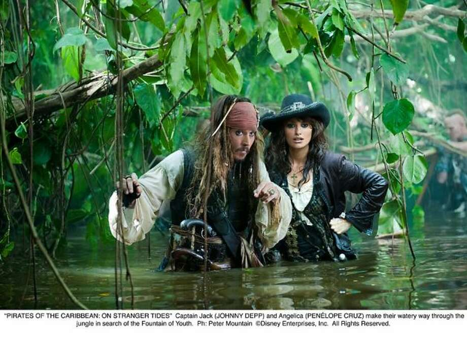 """Pirates of the Caribbean:  On Stranger Tides"":  Geoffrey Rush and Johnny Depp in a battle to see who could give the broadest most uninhibited performance.  Depp wins."