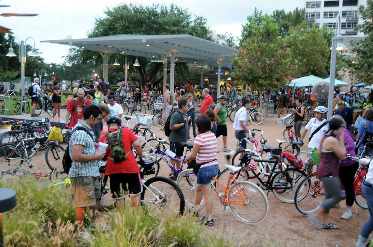 Bikers congregate in Market Square Park downtown before the September Critical Mass bike ride. The event is held montlhy.